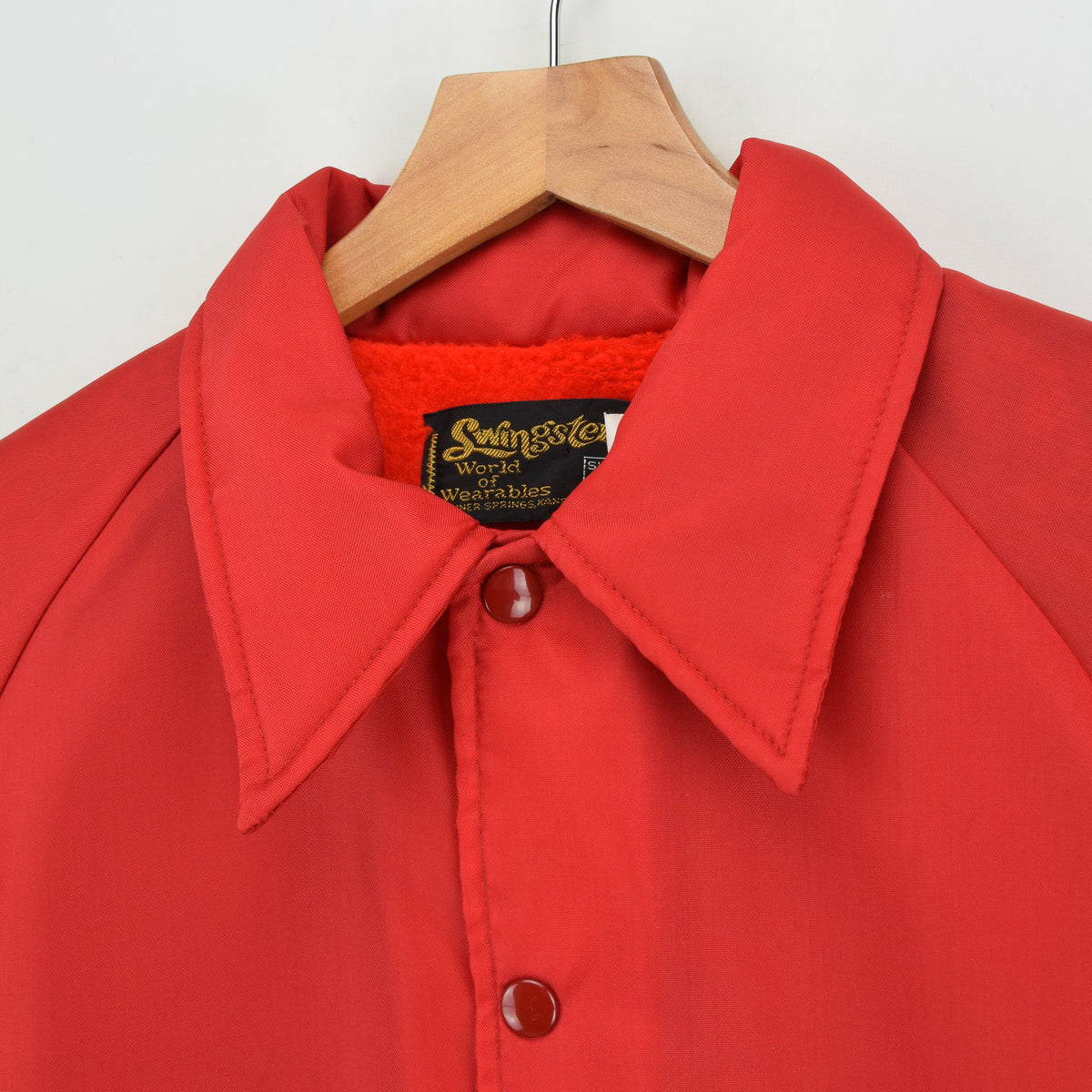 Vintage Swingsters Red Nylon Coach Jacket Made in USA M collar