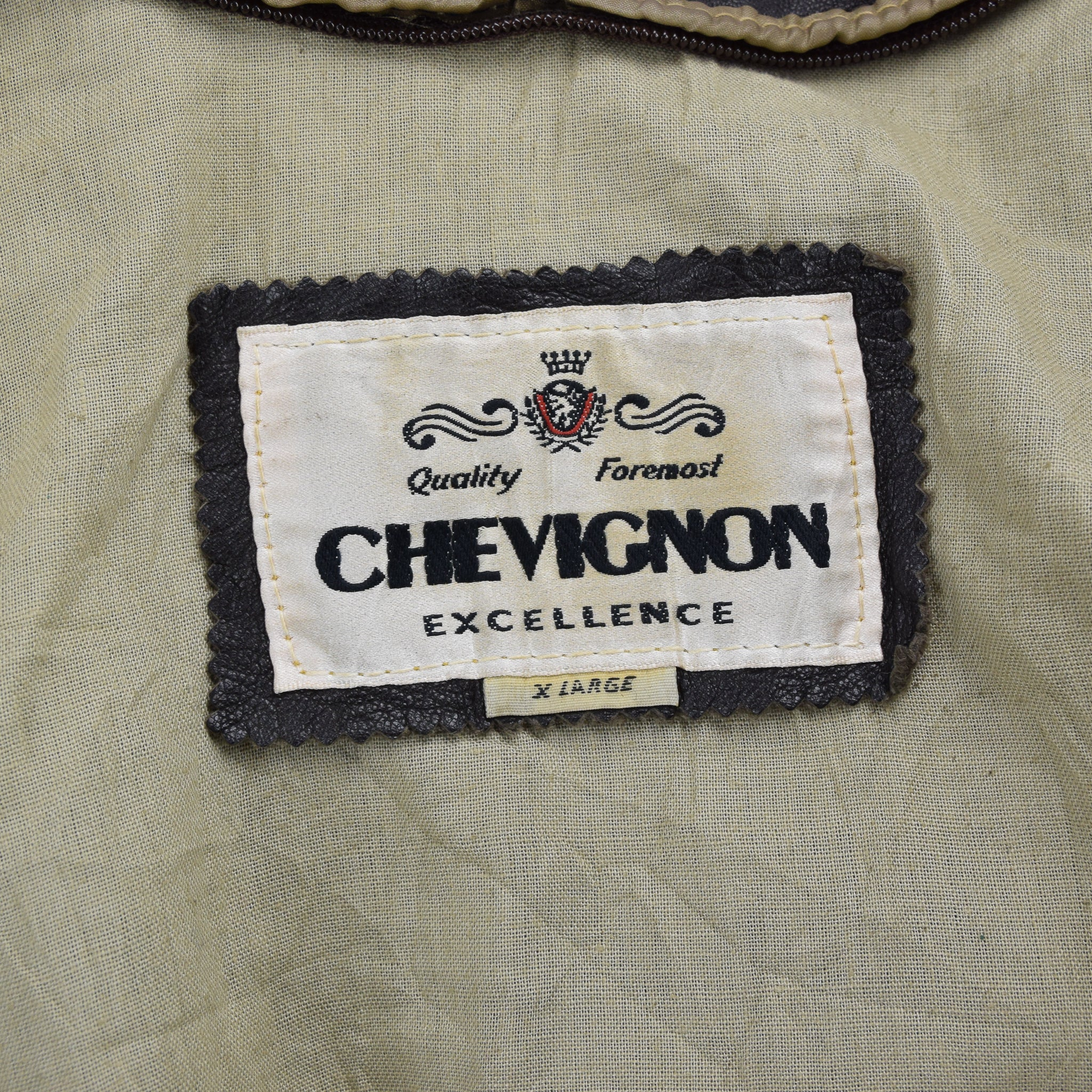 Vintage Chevignon of France Brown Flight Style Leather Bomber Coat Jacket XL label