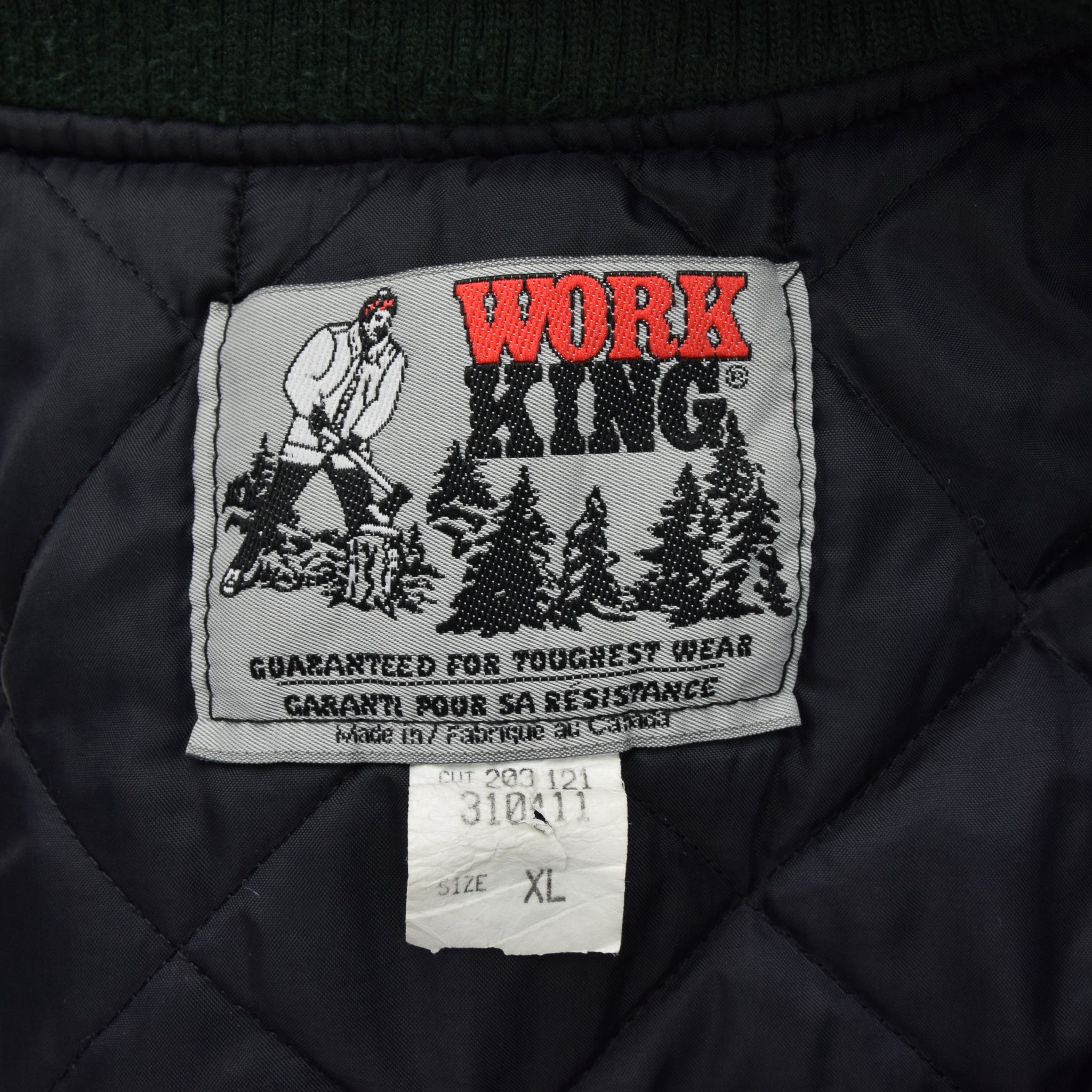 Vintage Work King Gilet Duck Canvas Waistcoat Quilt Lined Vest Made in Canada XL label