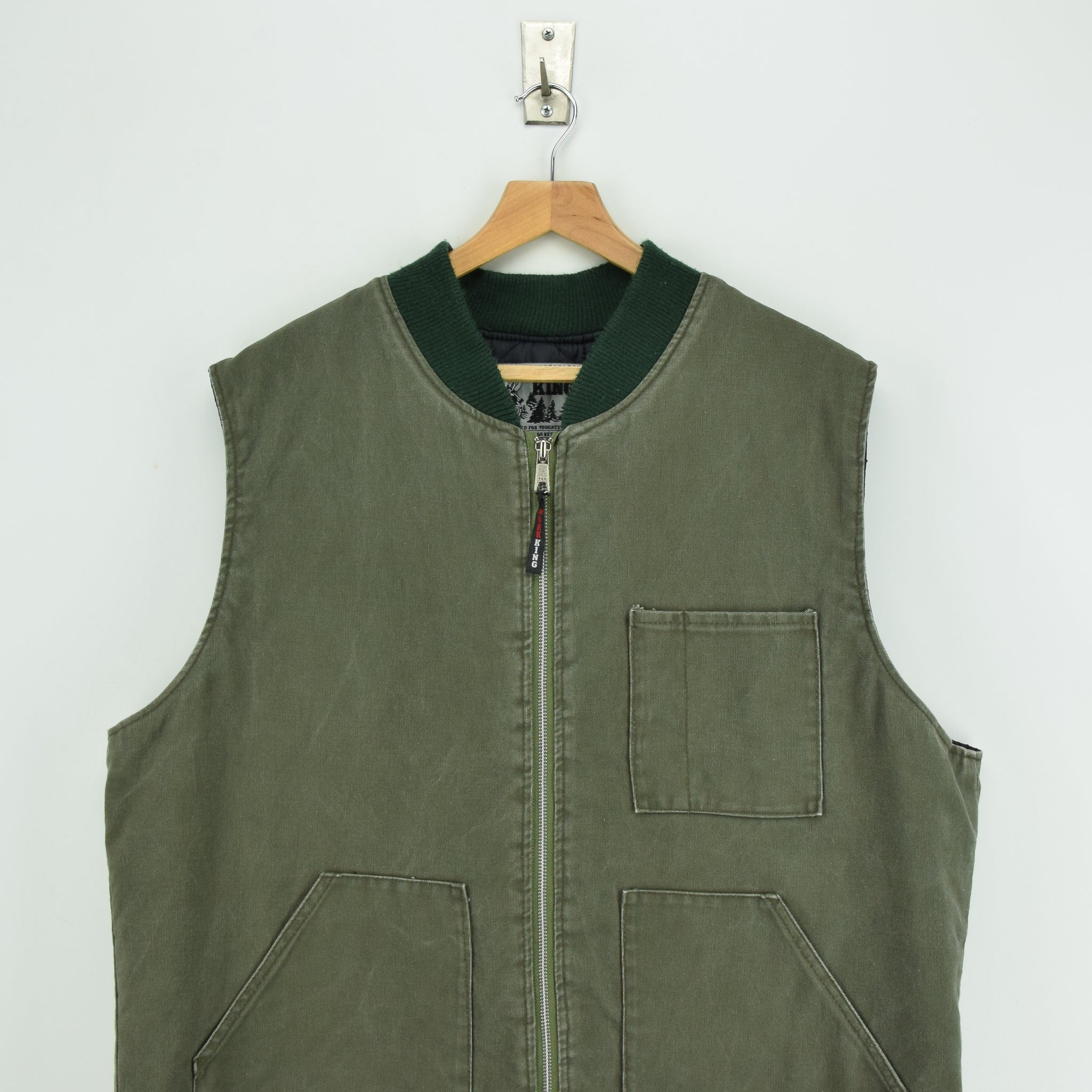 Vintage Work King Gilet Duck Canvas Waistcoat Quilt Lined Vest Made in Canada XL chest