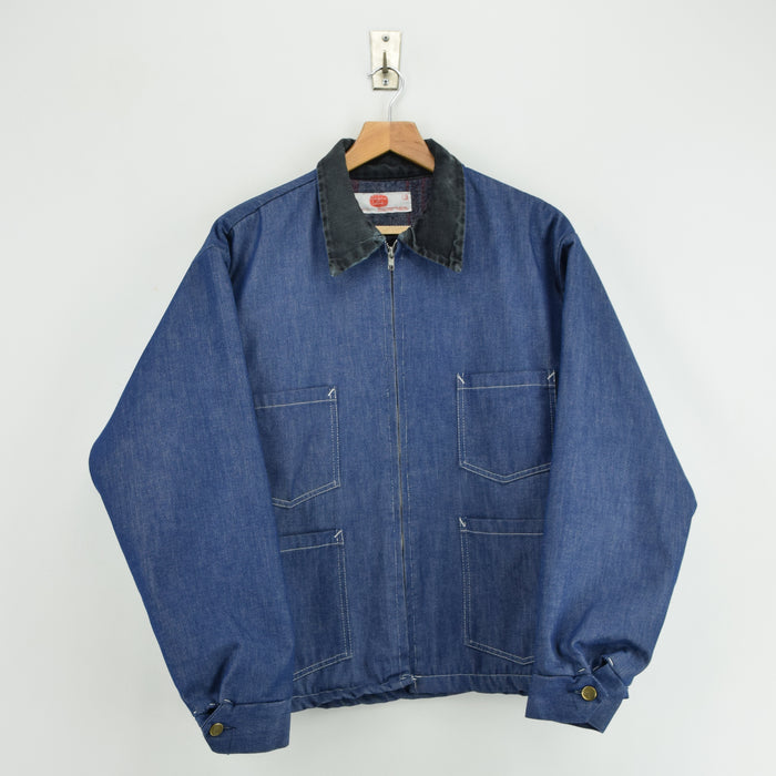 Vintage Adolphe Lafont Blue Denim Worker Blank Lined Chore Jacket Made in USA L front