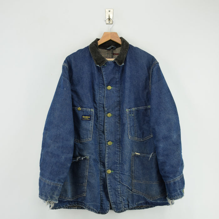 Vintage 70s Osh Kosh Denim Blanket Lined Worker Chore Jacket Made in USA L / XL front