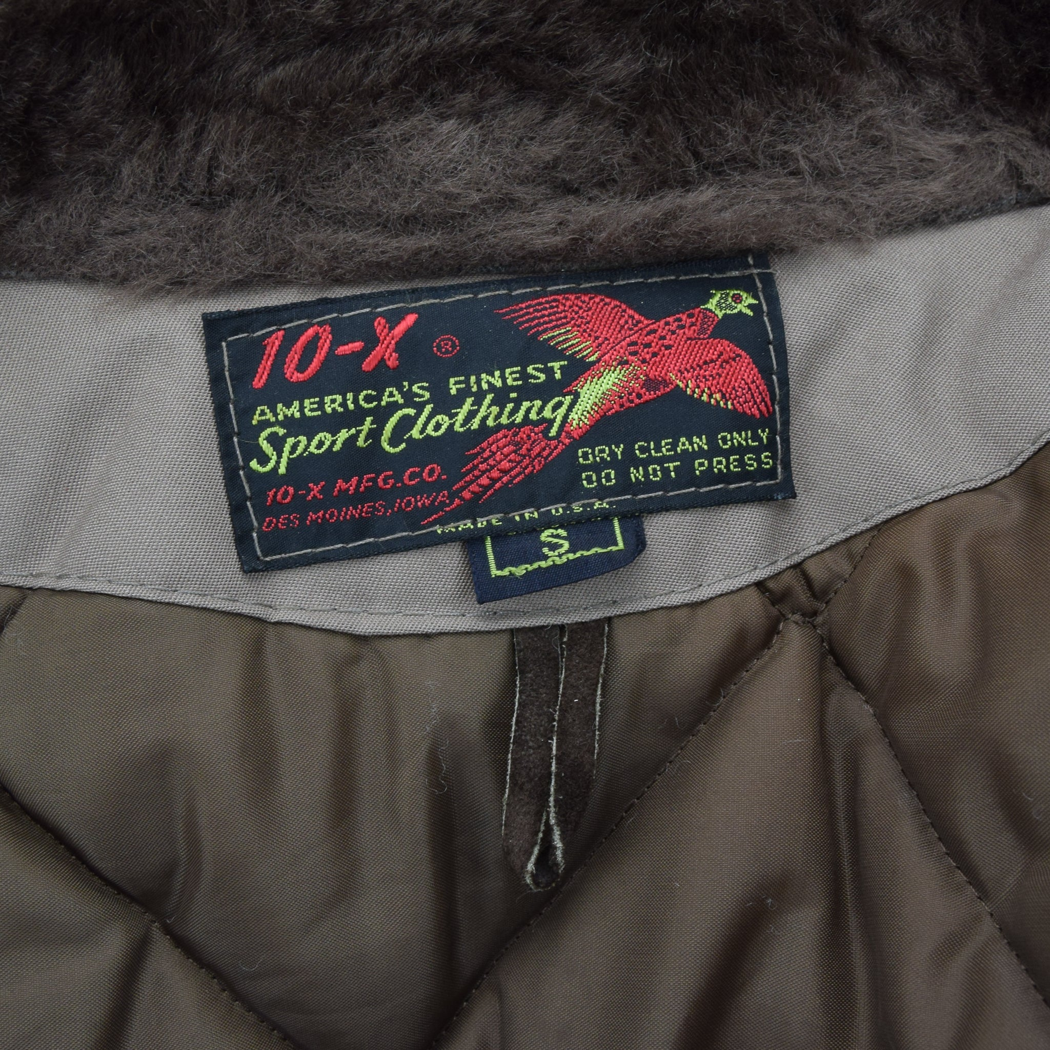 Vintage 70s 10-X Mfg Co USA Quilted Hunting Shooting Jacket Talon Zip XS / S label