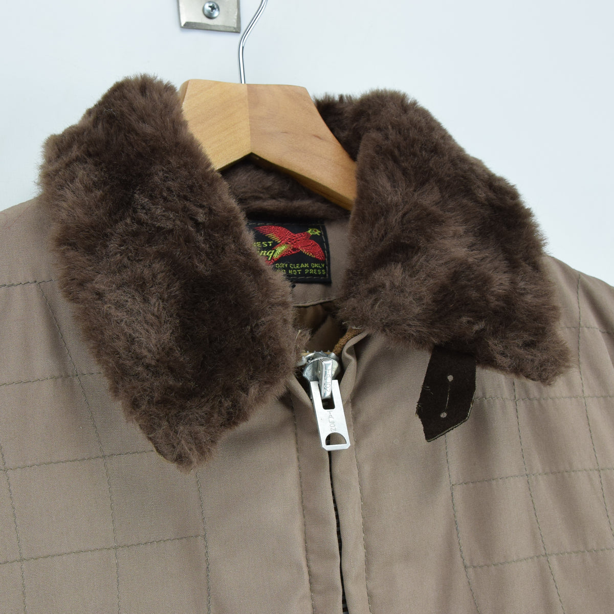 Vintage 70s 10-X Mfg Co USA Quilted Hunting Shooting Jacket Talon Zip XS / S collar