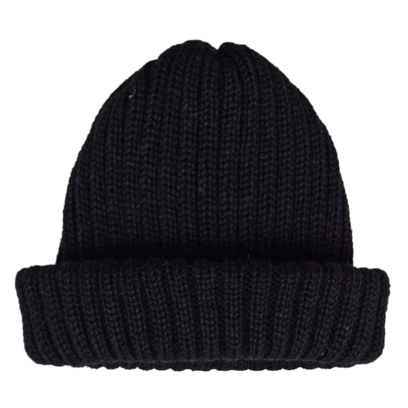 Connor Reilly Wool Watch Cap Black Made In England Front
