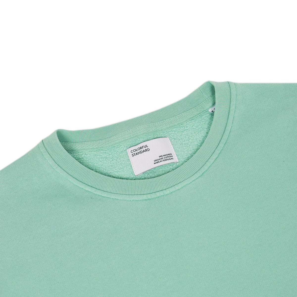 Colorful Standard Crew Sweat Organic Cotton Faded Mint label