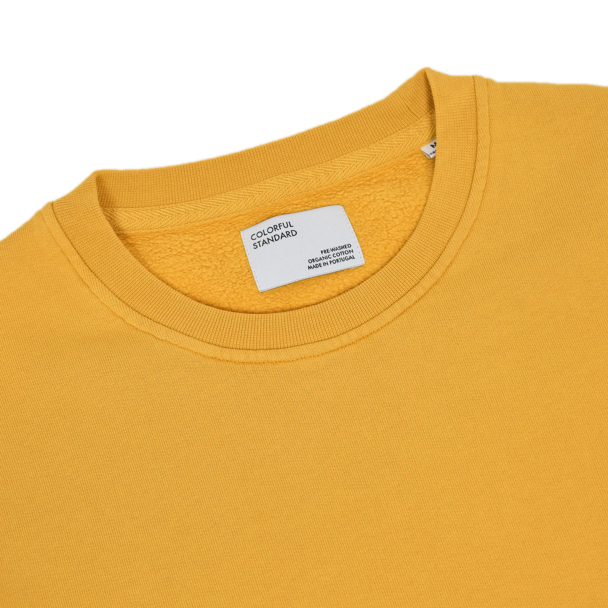 Colorful Standard Classic Organic Cotton Crew Sweat Burned Yellow collar
