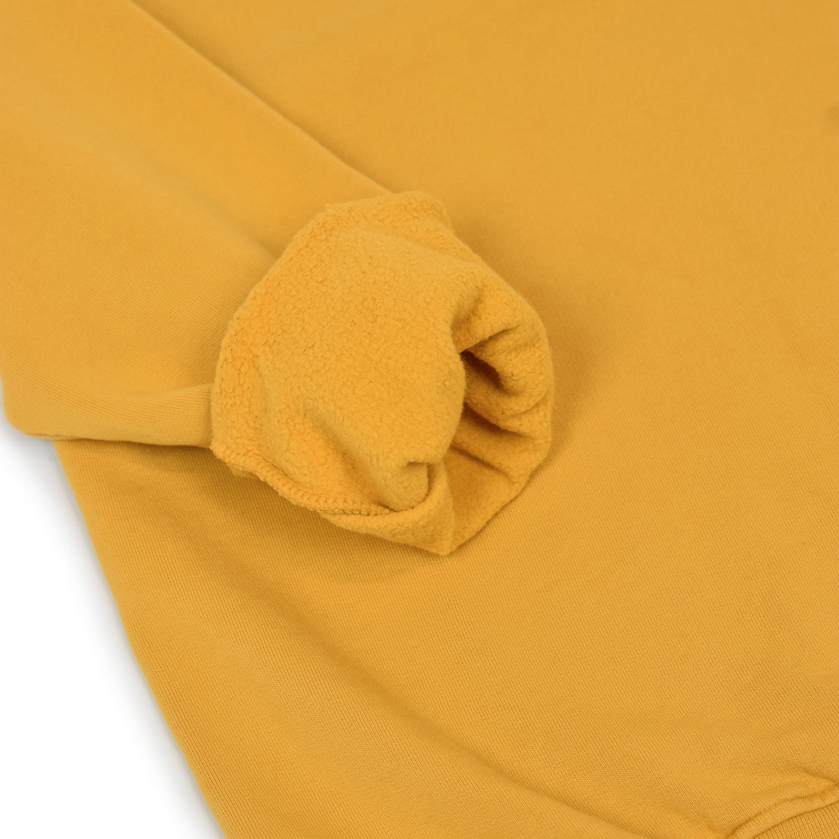 Colorful Standard Classic Organic Cotton Crew Sweat Burned Yellow cuff rolled