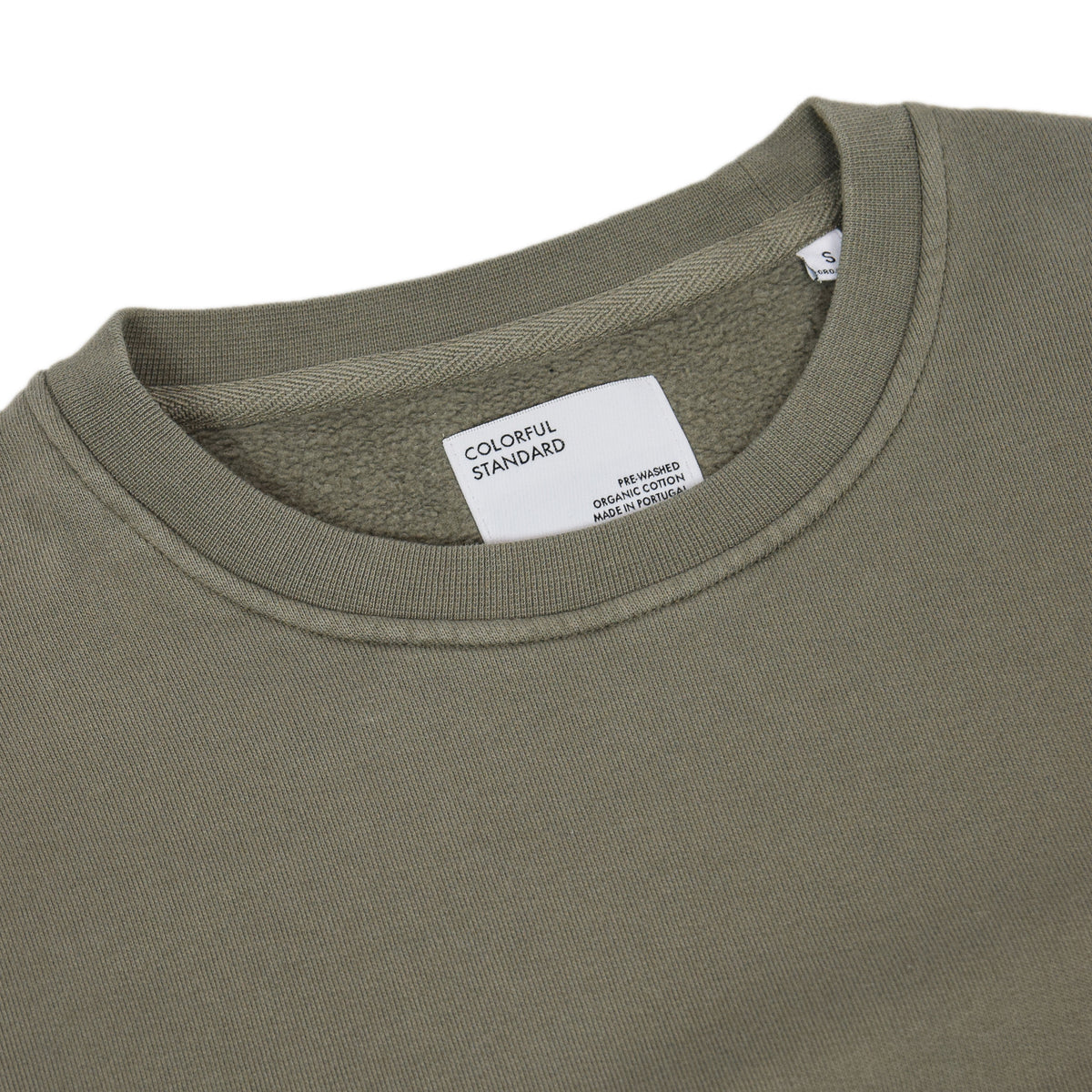 Colorful Standard Classic Organic Cotton Crew Sweat Dusty Olive collar