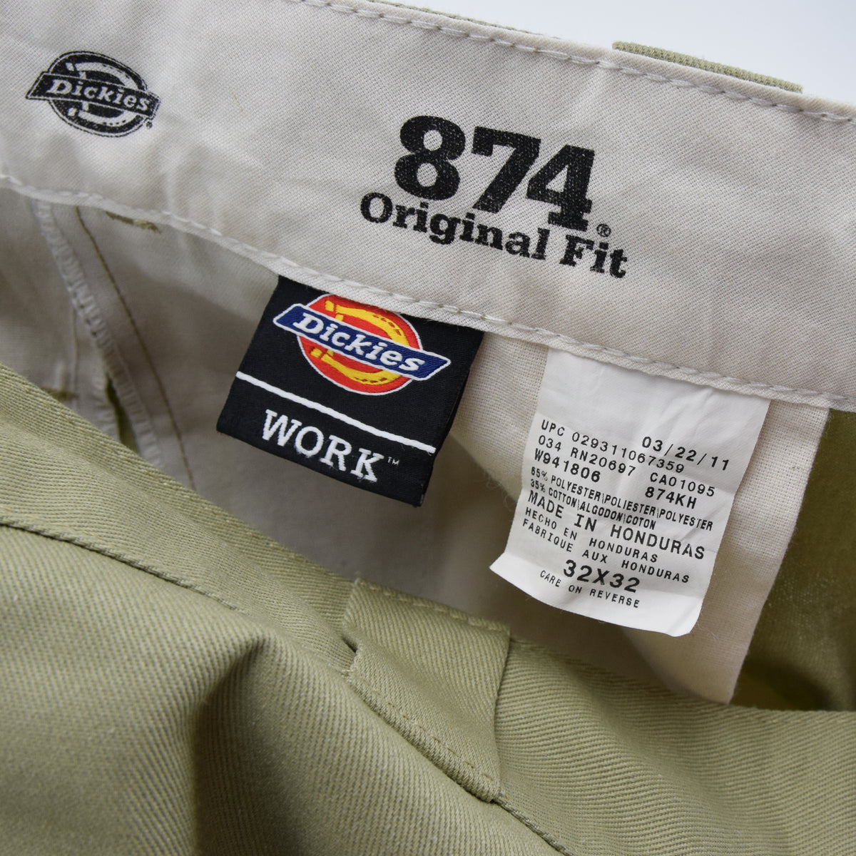 Dickies Workwear 874 Original Fit Work Flat Front Utility Trousers 30 W 32 L label