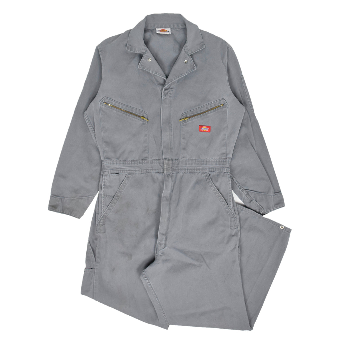 Vintage Dickies Workwear Coverall Washed Grey Cotton Boiler Suit M / L front