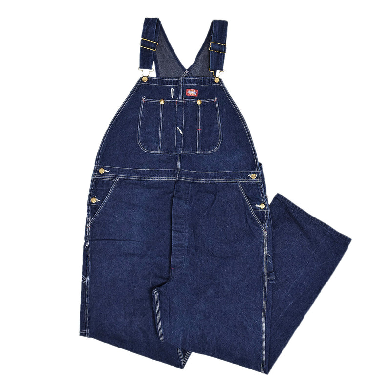 Vintage Dickies Denim Work Dungarees Blue Bib Overalls Trousers L / XL front