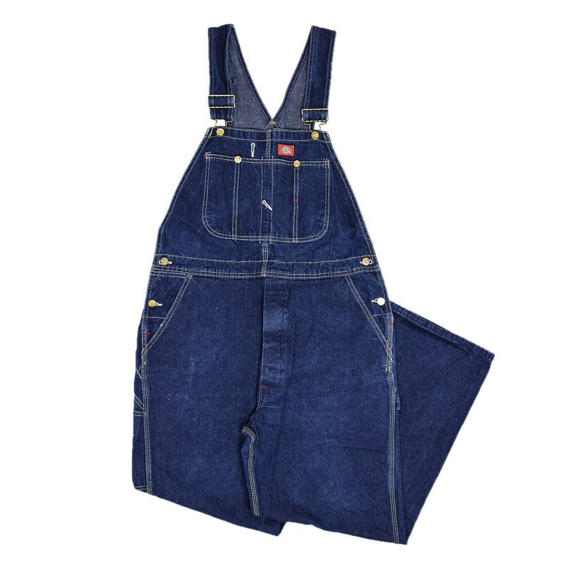 Vintage Dickies Denim Work Dungarees Blue Bib Overalls Trousers M front