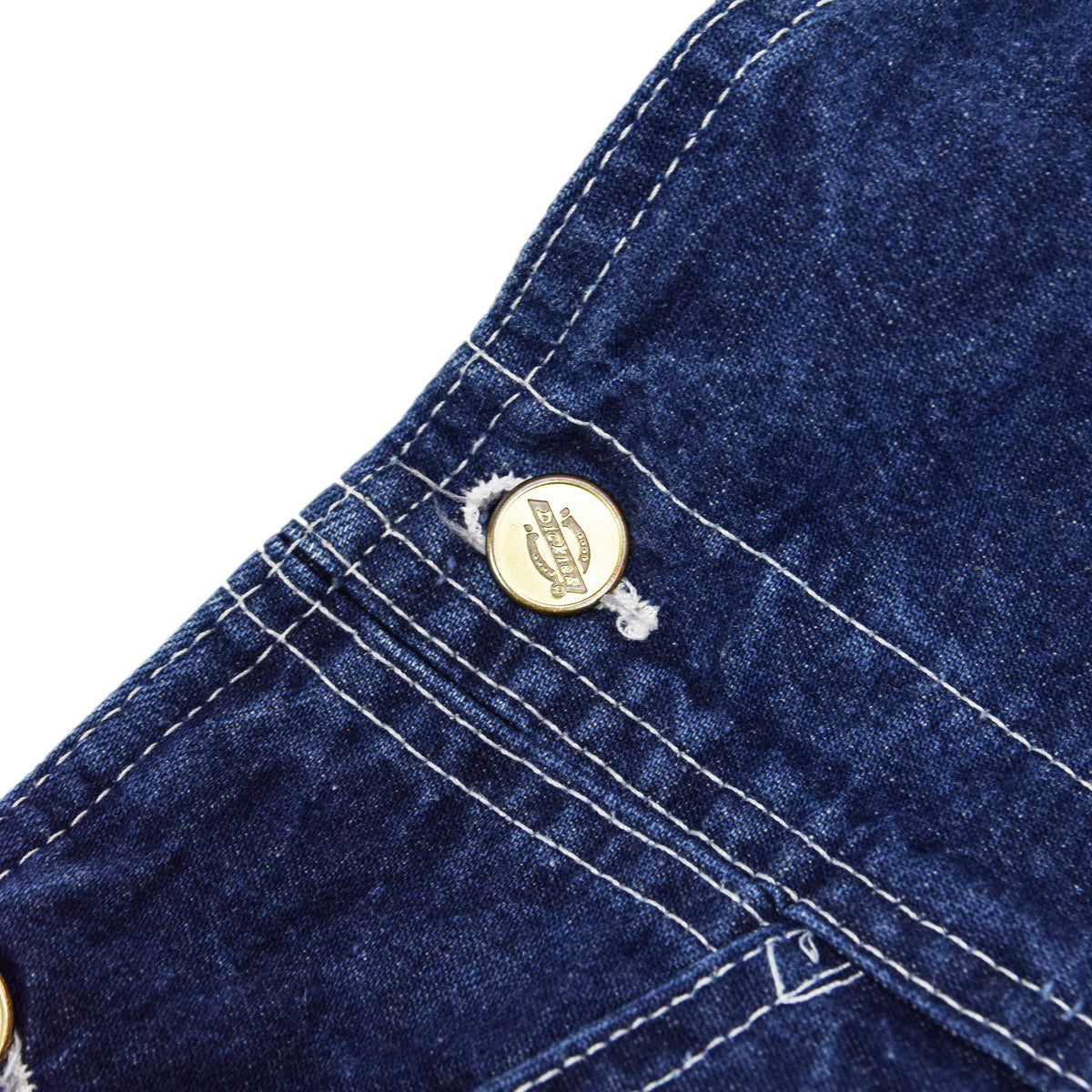 Vintage Dickies Denim Work Dungarees Blue Bib Overalls Trousers M branded buttons