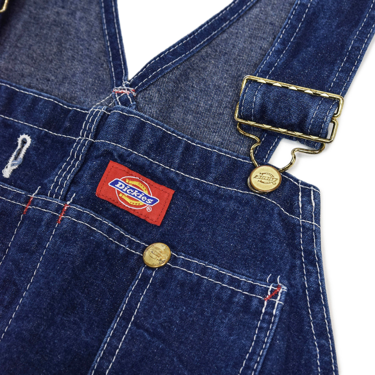 Vintage Dickies Denim Work Dungarees Blue Bib Overalls Trousers M chest details