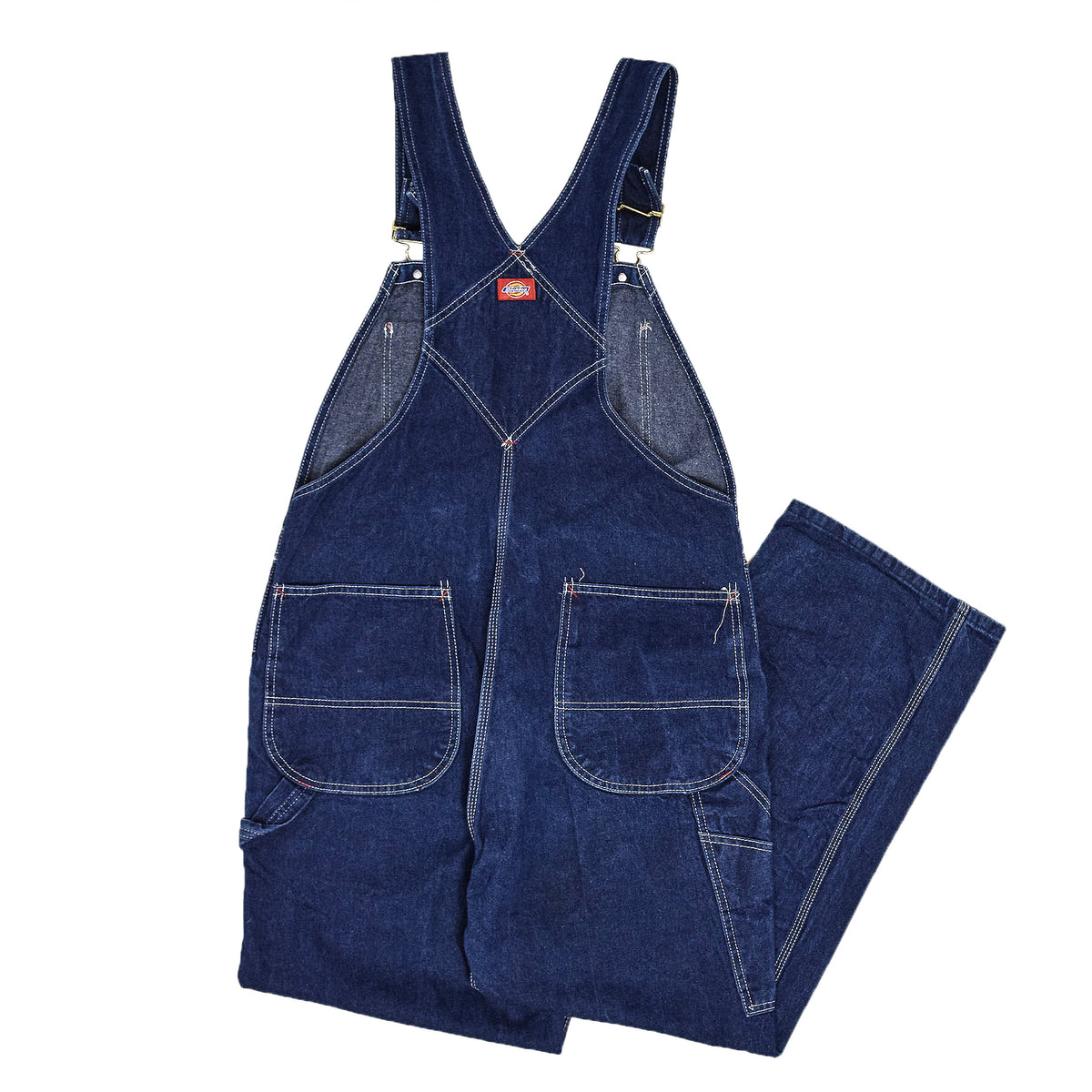 Vintage Dickies Denim Work Dungarees Blue Bib Overalls Trousers M back