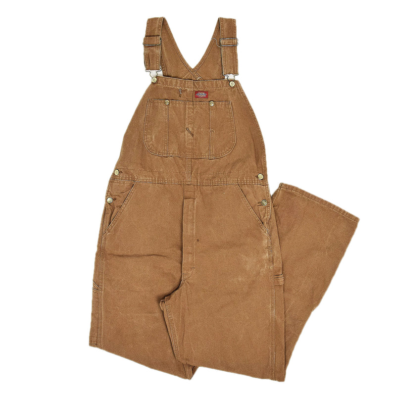 Vintage Dickies Tan Duck Canvas Work Dungarees Bib Overalls Trousers S / M front
