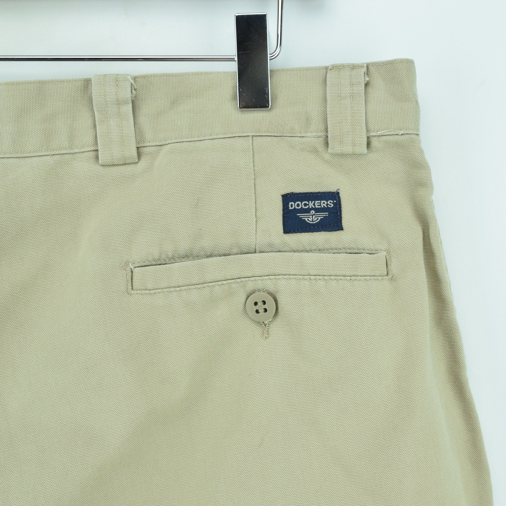Vintage Dockers Chinos Stone Pants Flat Front Trousers 34 W 29 L pocket
