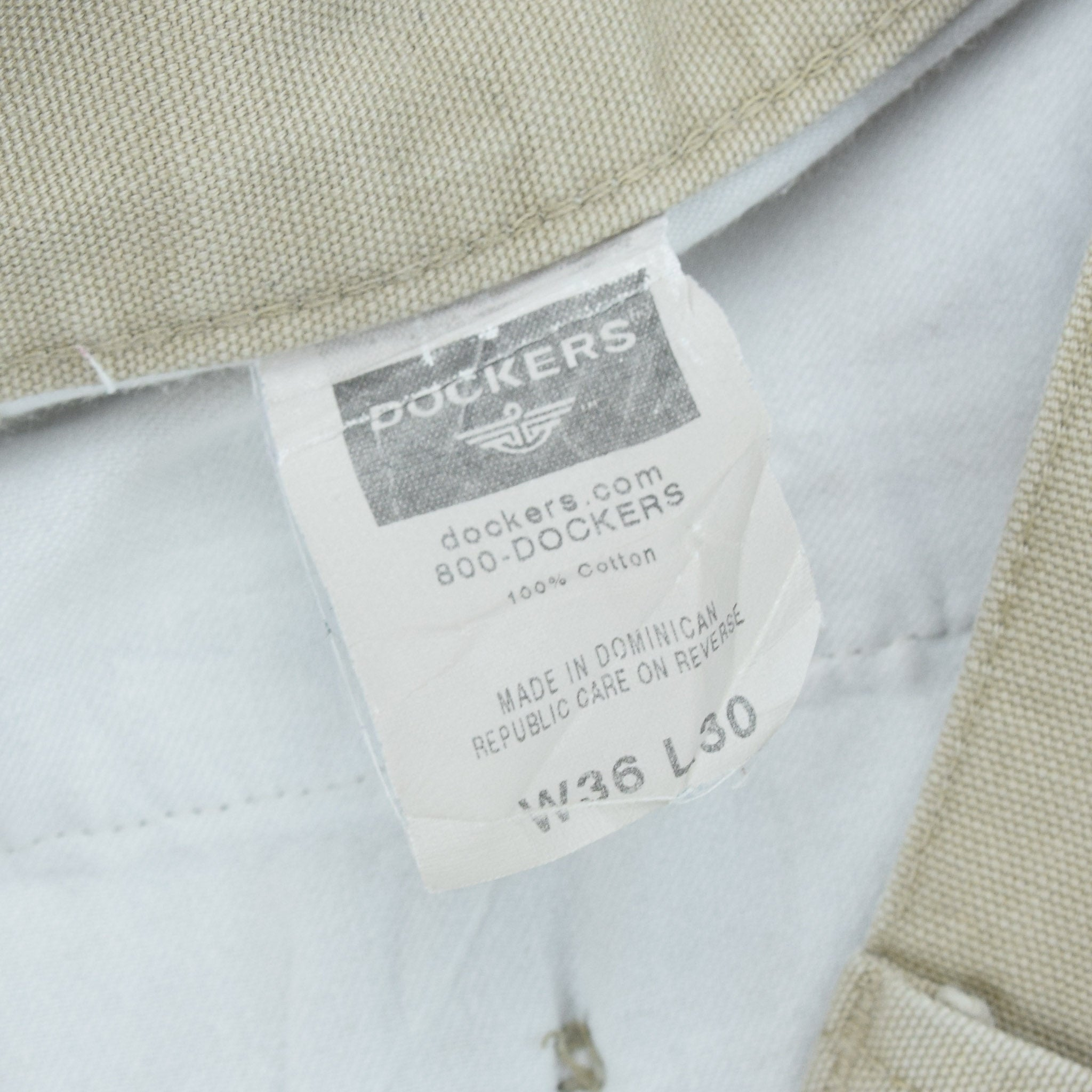 Vintage Dockers Chinos Stone Pants Flat Front Trousers 34 W 29 L label