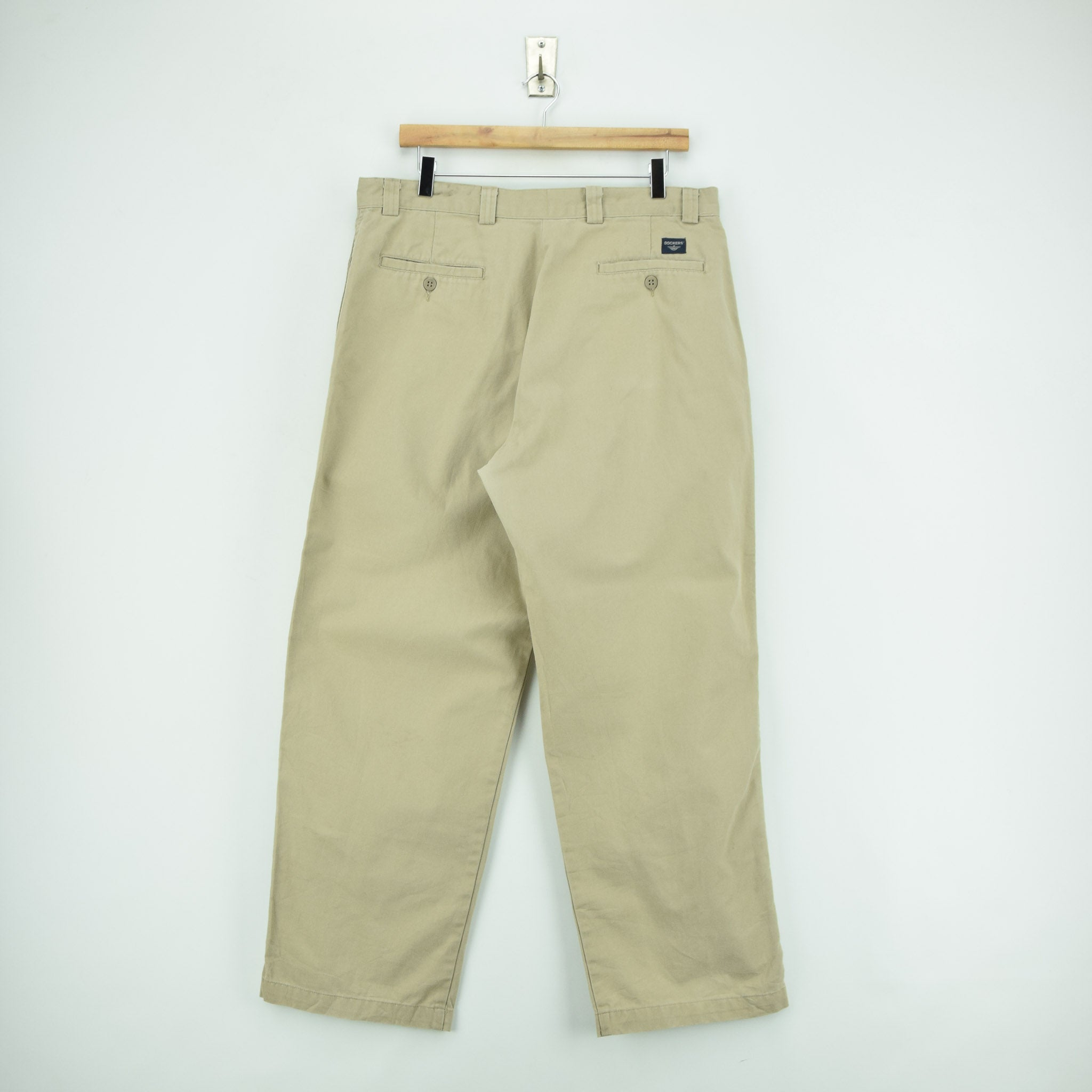 Vintage Dockers Chinos Stone Pants Flat Front Trousers 34 W 29 L back