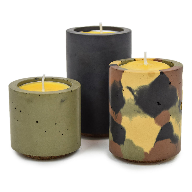 Concrete & Wax Beeswax Candle And DPM Camo Tealight Concrete Holders Slim CANDLES