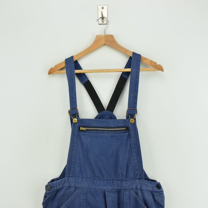 Vintage Distressed Blue Cotton French Style Workwear Dungarees Overalls S / M front bib