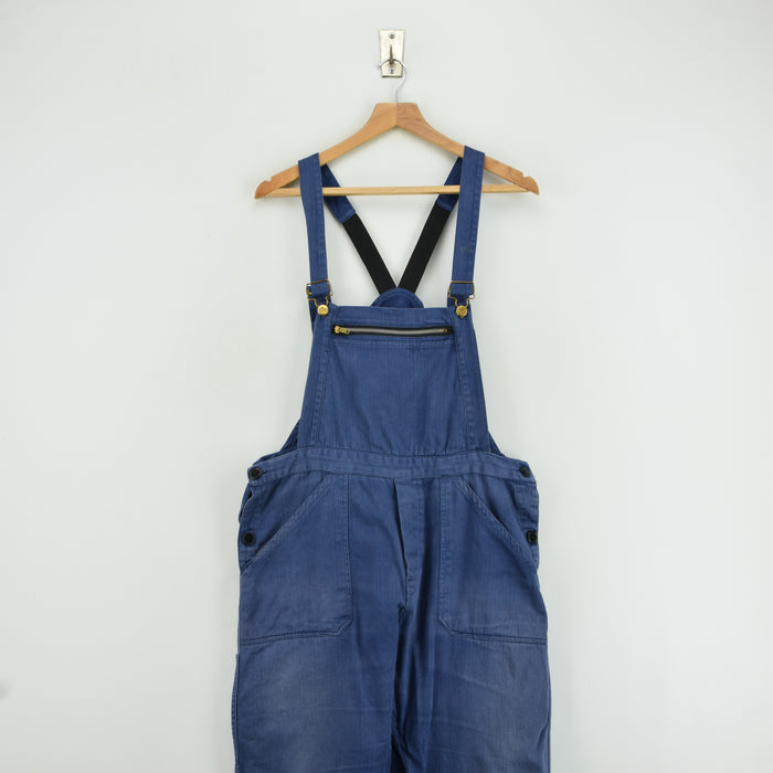 Vintage Distressed Blue Cotton French Style Workwear Dungarees Overalls S / M front