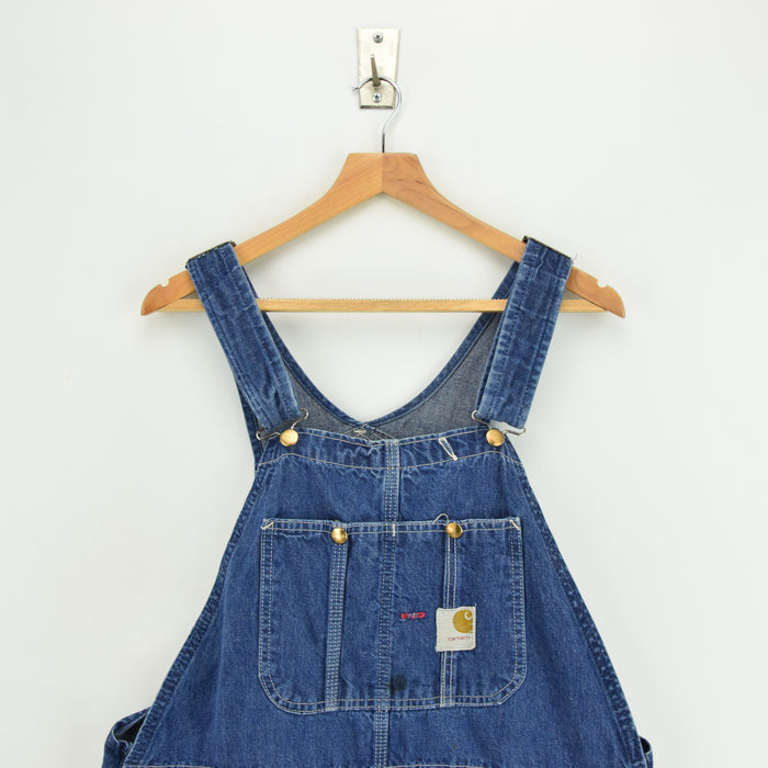Vintage 70s Carhartt Denim Work Dungarees Blue Bib Overalls Trousers M / L chest