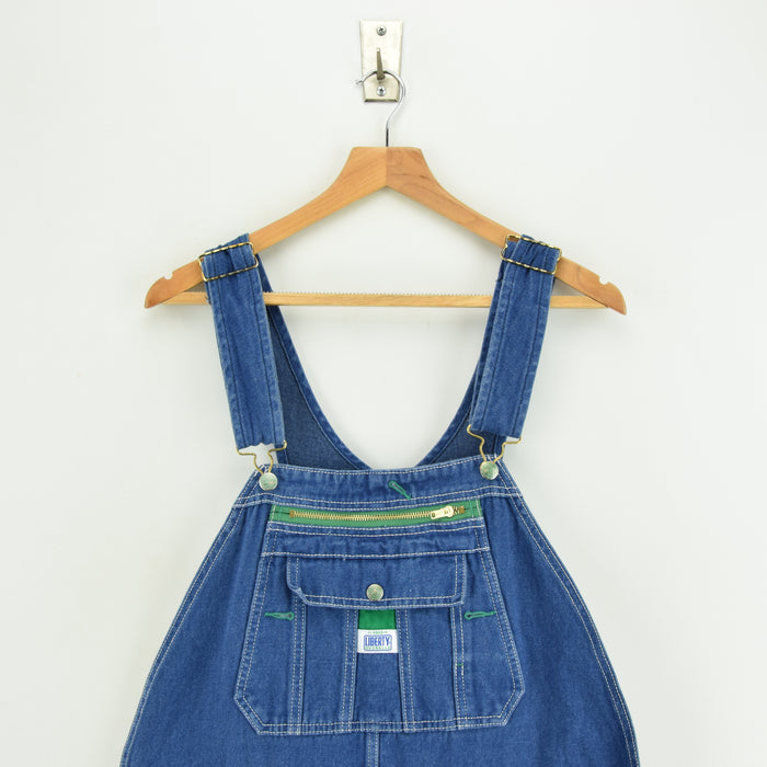 Vintage Liberty Denim Work Dungarees Blue Bib Overalls Trousers Large 34 W chest