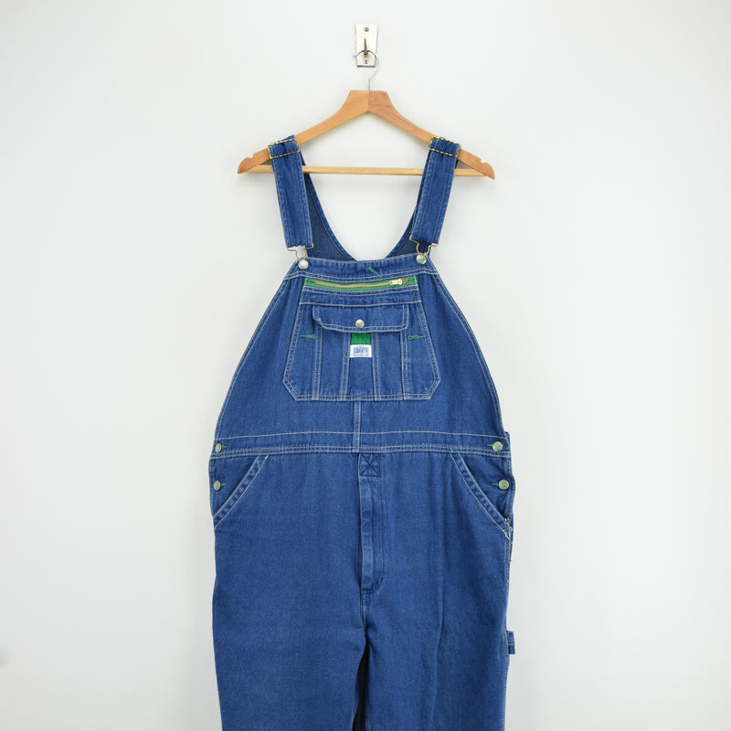 Vintage Liberty Denim Work Dungarees Blue Bib Overalls Trousers Large 34 W front