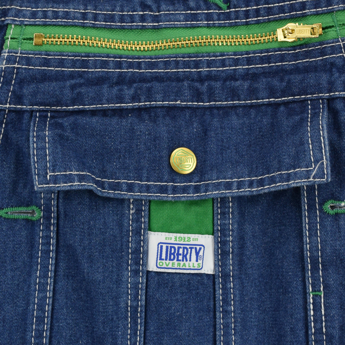 Vintage Liberty Denim Work Dungarees Blue Bib Overalls Trousers M / L 32-34 W chest pocket