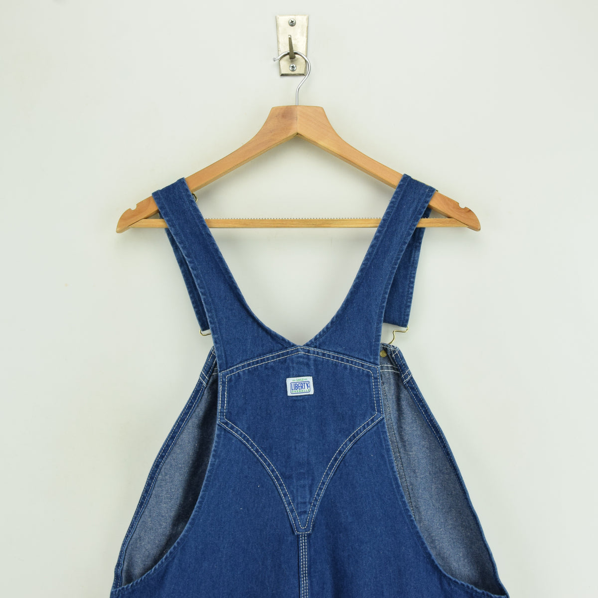 Vintage Liberty Denim Work Dungarees Blue Bib Overalls Trousers M / L 32-34 W back