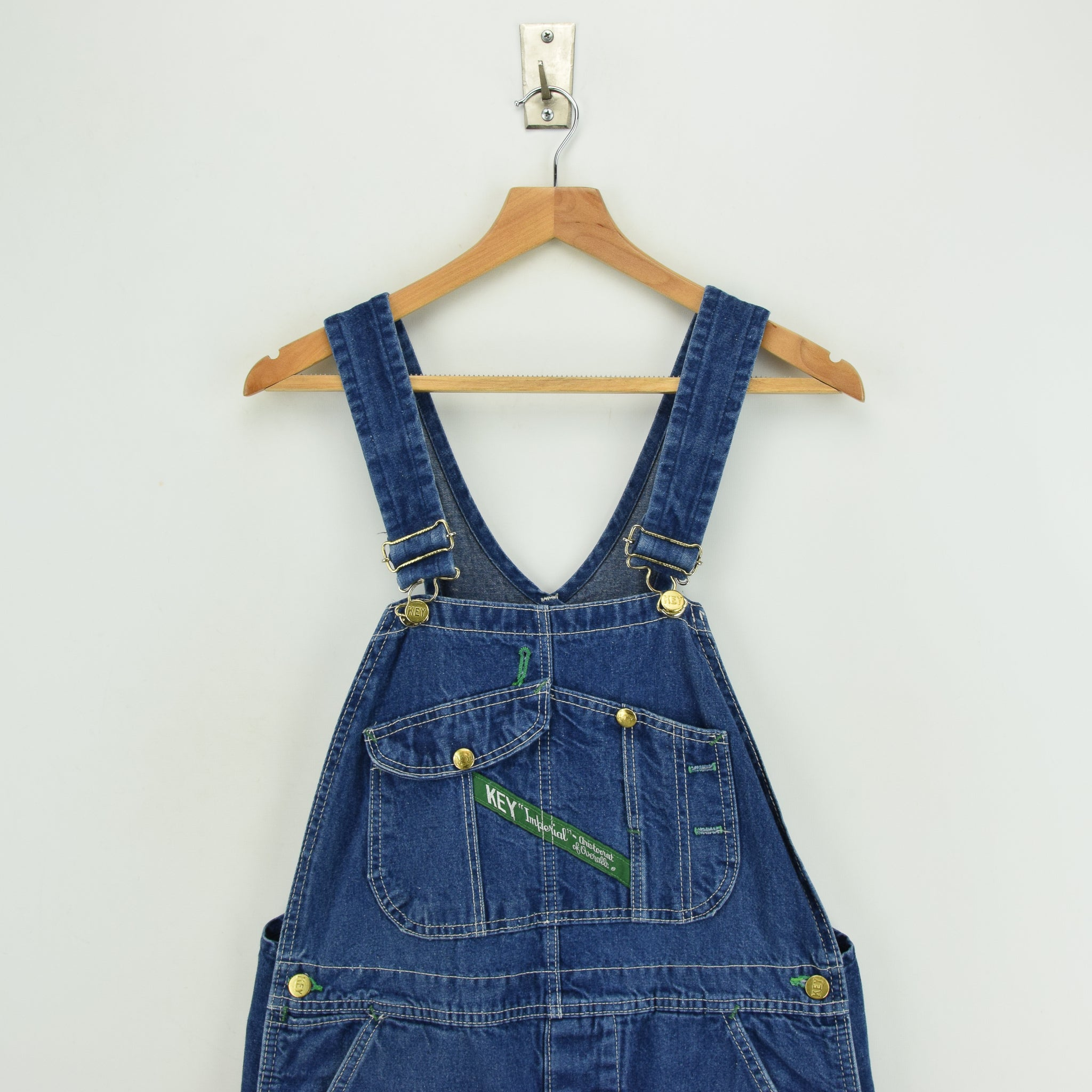 Vintage Key Imperial Aristocrat of Overalls Blue Denim Work Dungarees 34 W 31 L chest