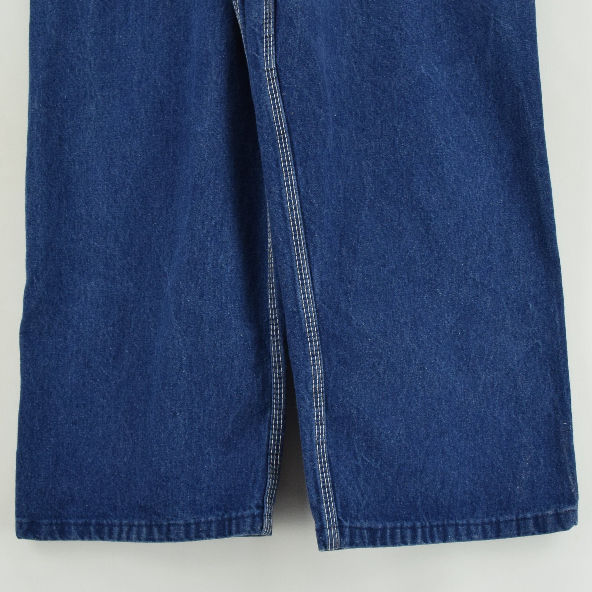 Vintage Key Imperial Aristocrat of Overalls Blue Denim Work Dungarees 34 W 31 L back hem