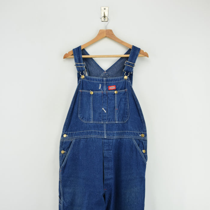 Vintage Dickies Denim Work Dungarees Blue Bib Overalls Trousers 32 W 29 L front