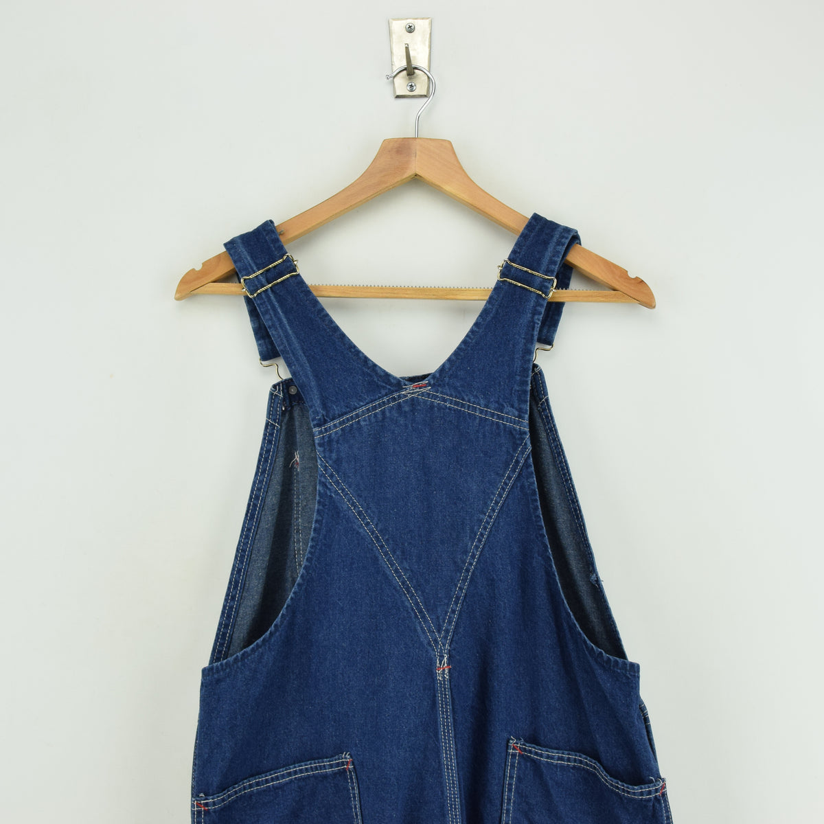 Vintage Big Yank Denim Work Dungarees Blue Bib Overalls Trousers Med 32 W back