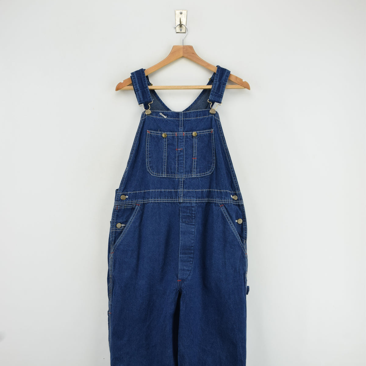 Vintage Big Yank Denim Work Dungarees Blue Bib Overalls Trousers Med 32 W front