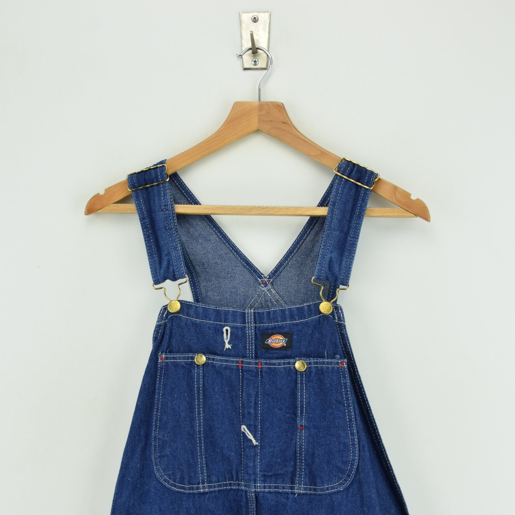 Vintage Dickies Denim Work Dungarees Blue Bib Overalls Trousers 32 W 30 L chest