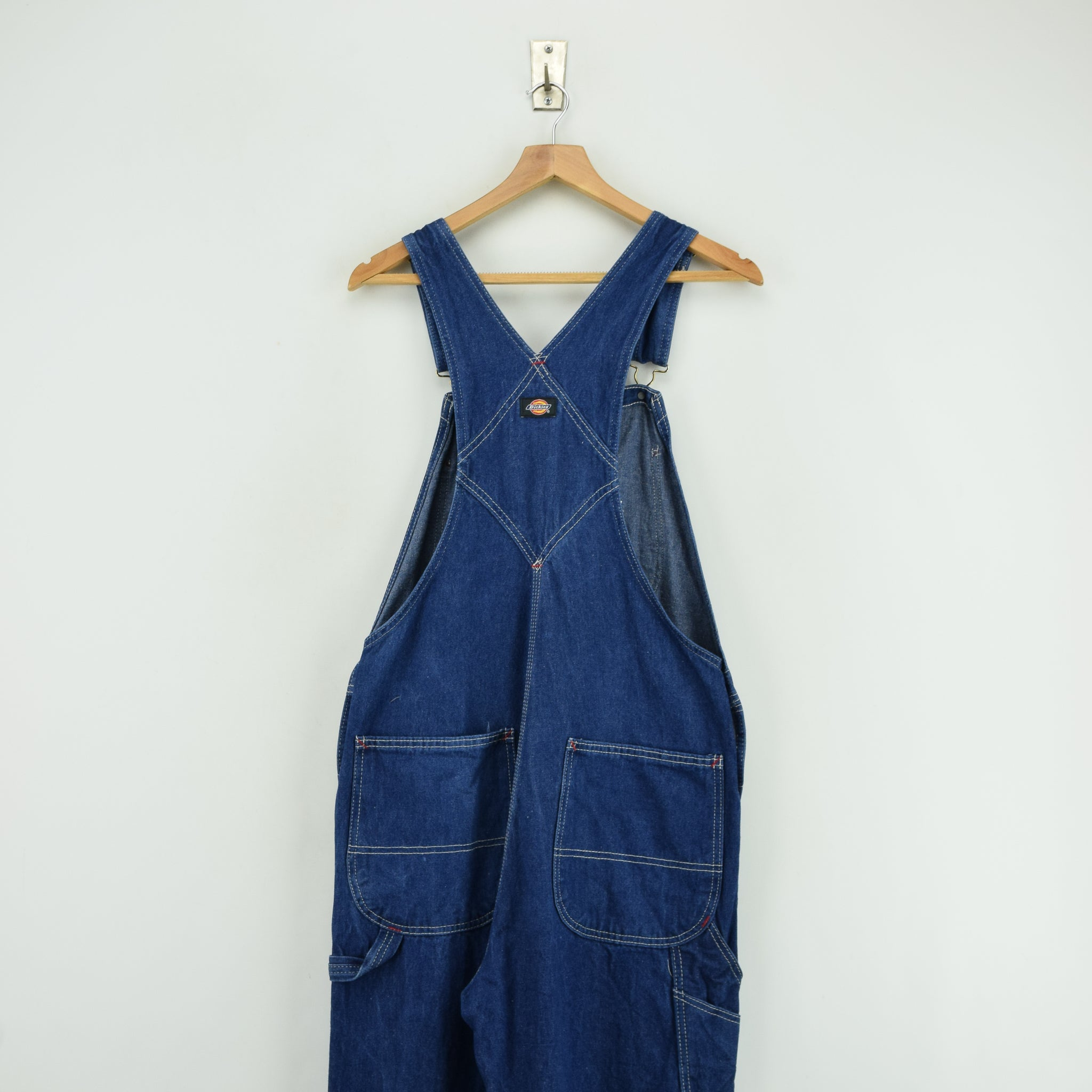 Vintage Dickies Denim Work Dungarees Blue Bib Overalls Trousers 32 W 30 L back