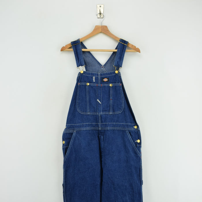 Vintage Dickies Denim Work Dungarees Blue Bib Overalls Trousers 32 W 30 L front