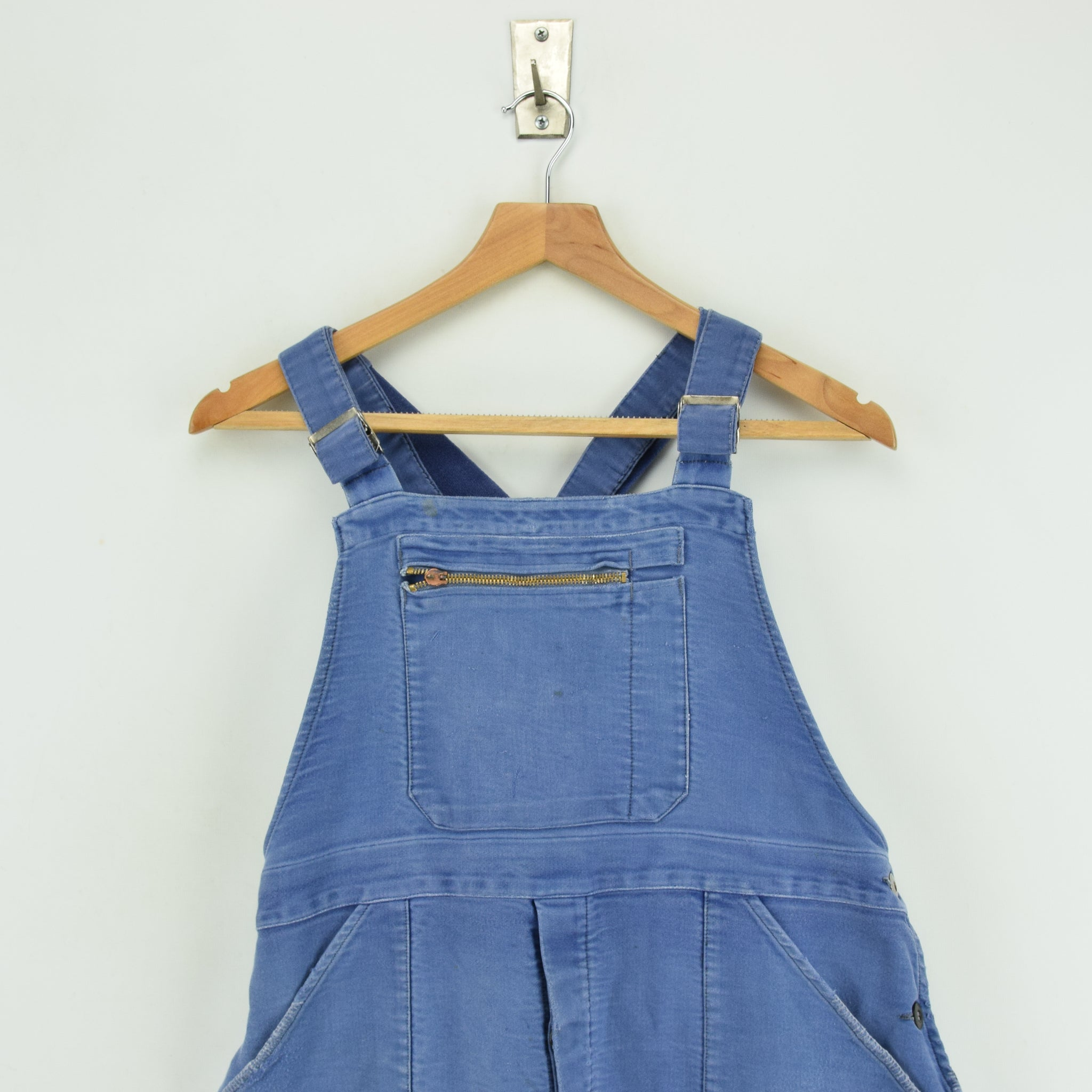 Vintage Distressed Blue French Moleskin Workwear Dungarees Trousers S / M chest