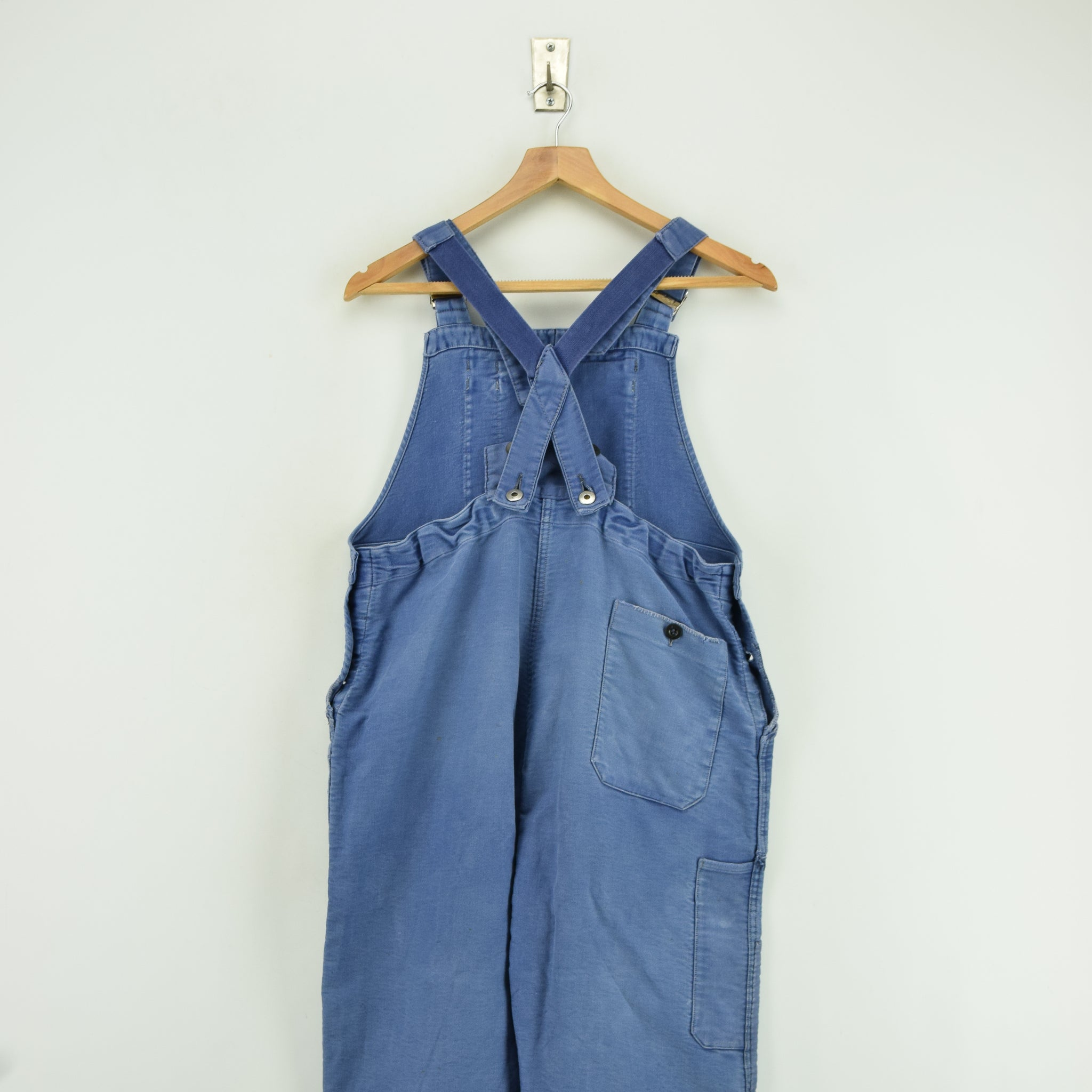 Vintage Distressed Blue French Moleskin Workwear Dungarees Trousers S / M back