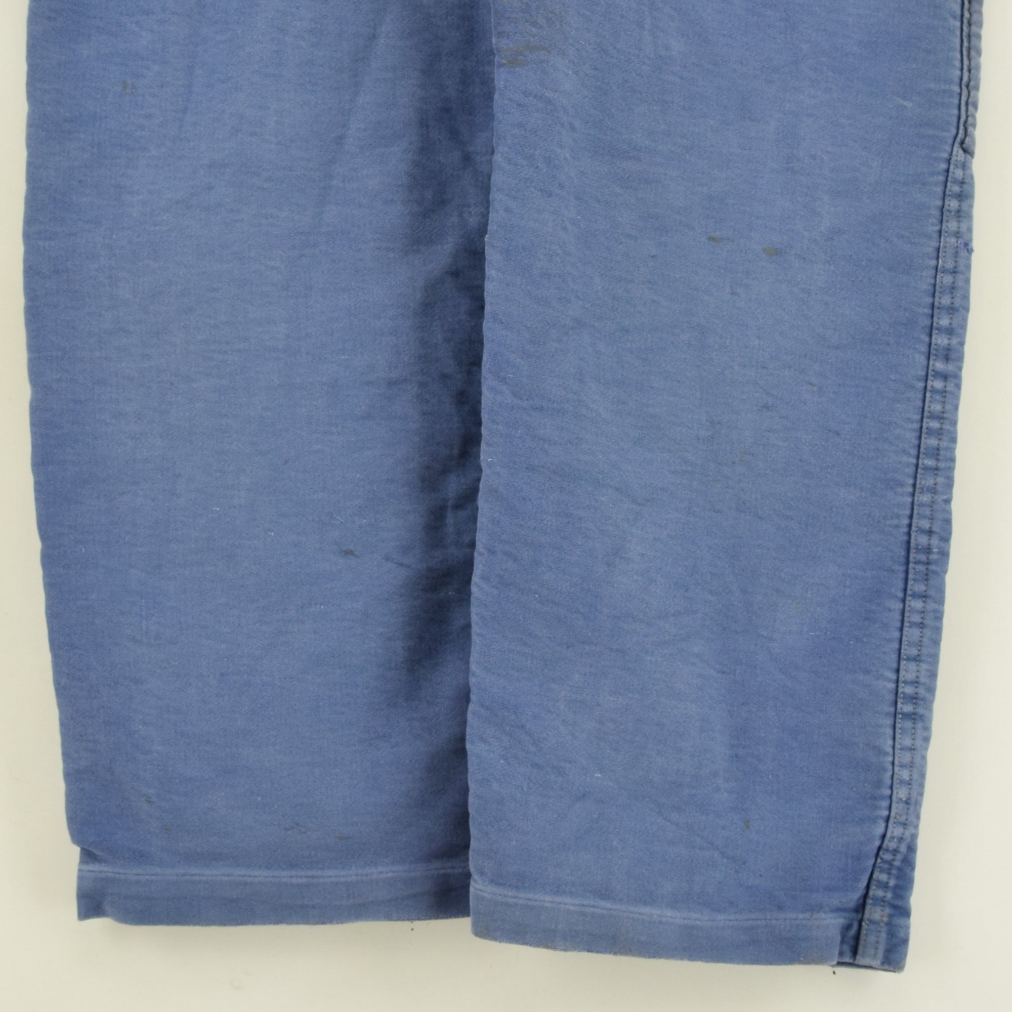 Vintage Distressed Blue French Moleskin Workwear Dungarees Trousers S / M back legs