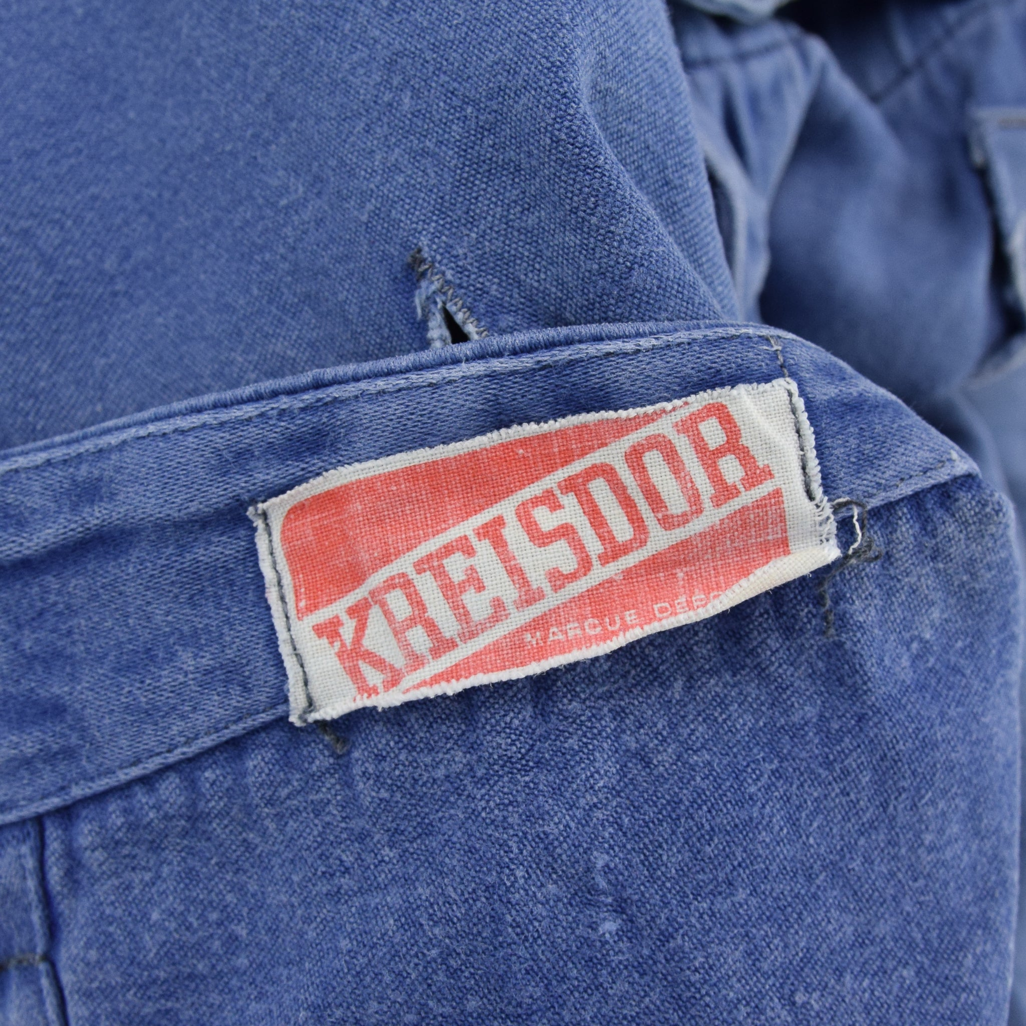 Vintage Distressed Blue French Moleskin Workwear Dungarees Trousers S / M label