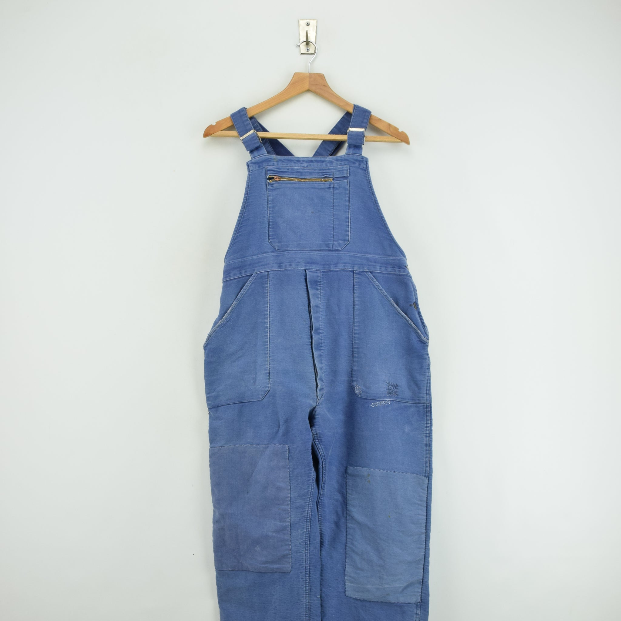 Vintage Distressed Blue French Moleskin Workwear Dungarees Trousers S / M front