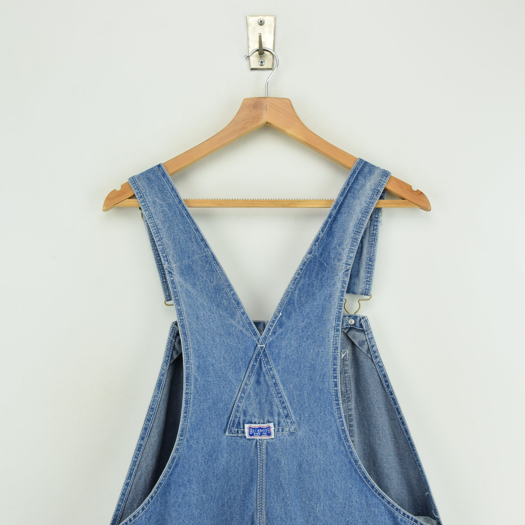 Vintage Big Smith Denim Work Dungarees Blue Bib Overalls Trousers L / XL upper back