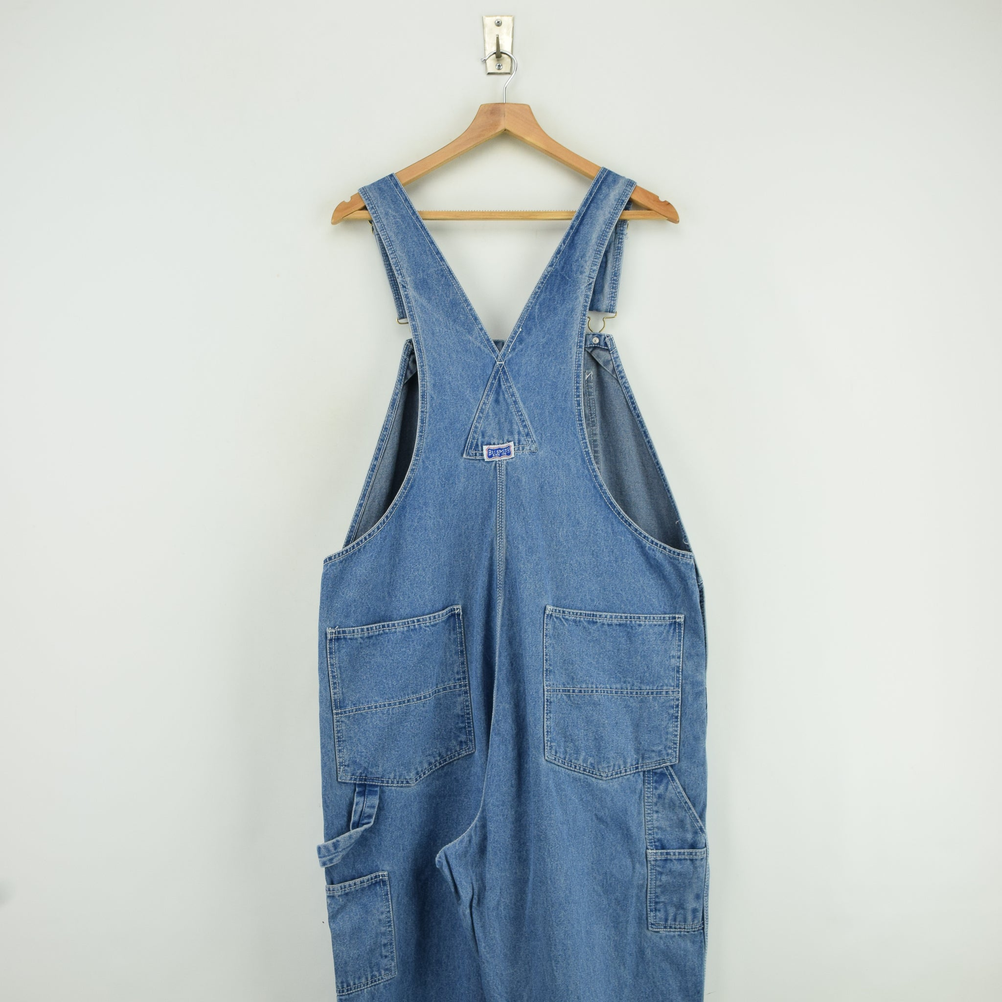 Vintage Big Smith Denim Work Dungarees Blue Bib Overalls Trousers L / XL back