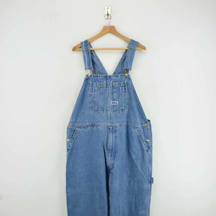Vintage Big Smith Denim Work Dungarees Blue Bib Overalls Trousers L / XL front