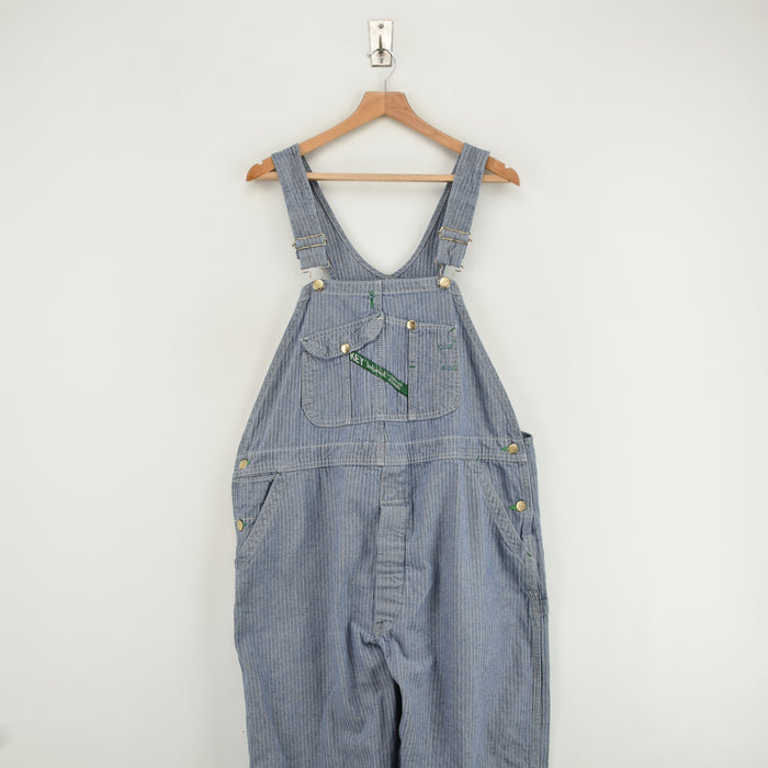 Vintage Key Imperial Aristocrat Overalls Blue Herringbone Work Dungarees L / XL front