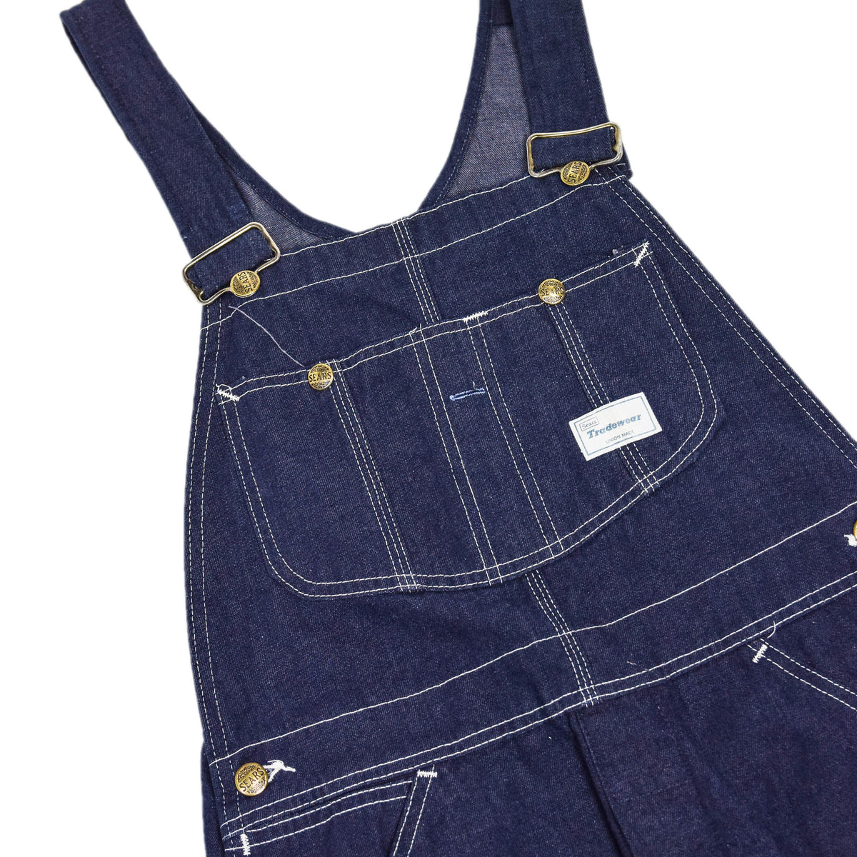 Vintage Sears Union Made USA Workwear Dungarees Blue Denim Overalls XS CHEST